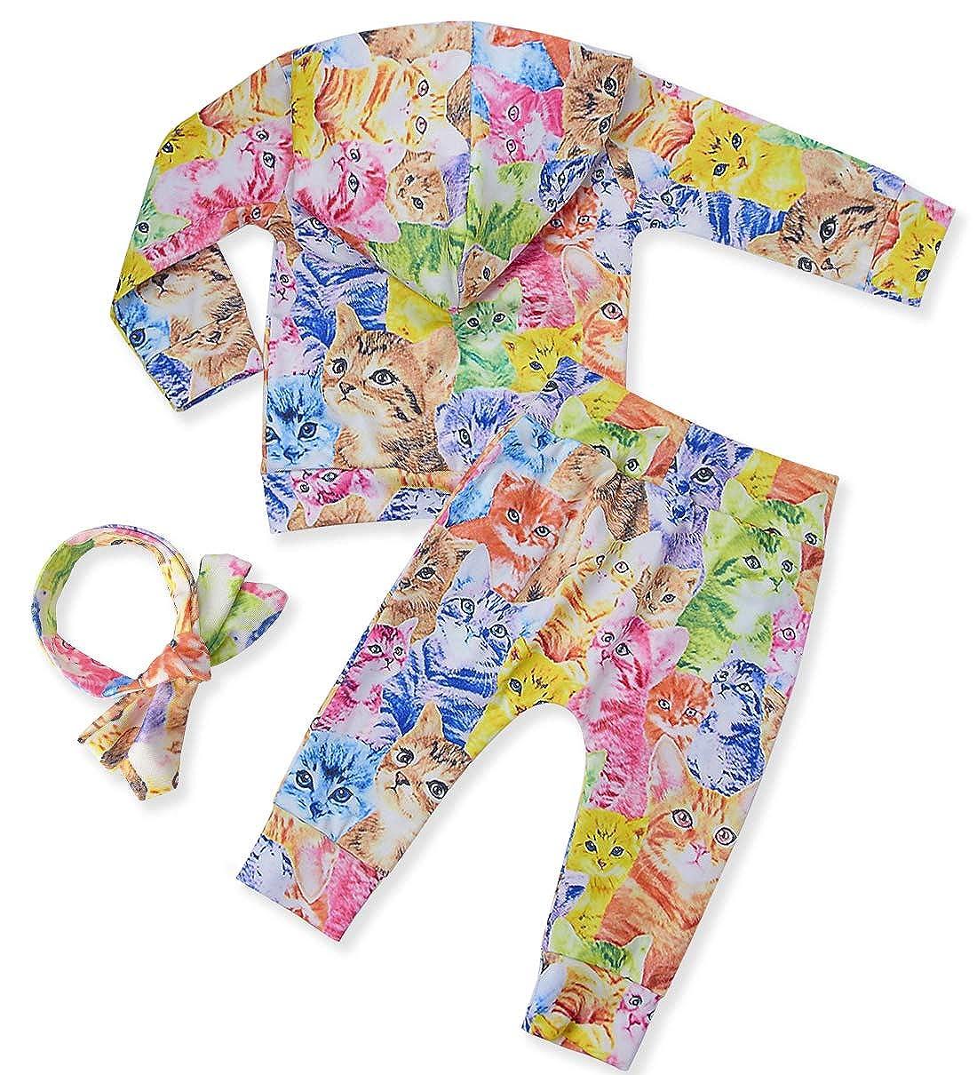 chicolife Neugeborenes Baby M/ädchen Kleidung Set Langarm Kapuzensweatshirts Outfits Unisex Trainingsanz/üge 0-24Monat