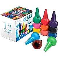 Keten Crayons de Bébé, 12 Crayons Couleurs pour Les Tout-Petits, Sûreté de Lavage et Non Toxiques pour Tout-Petits Bâtonnets de Crayons Jouets Empilables pour Bébés, Enfants, Garçons et Filles