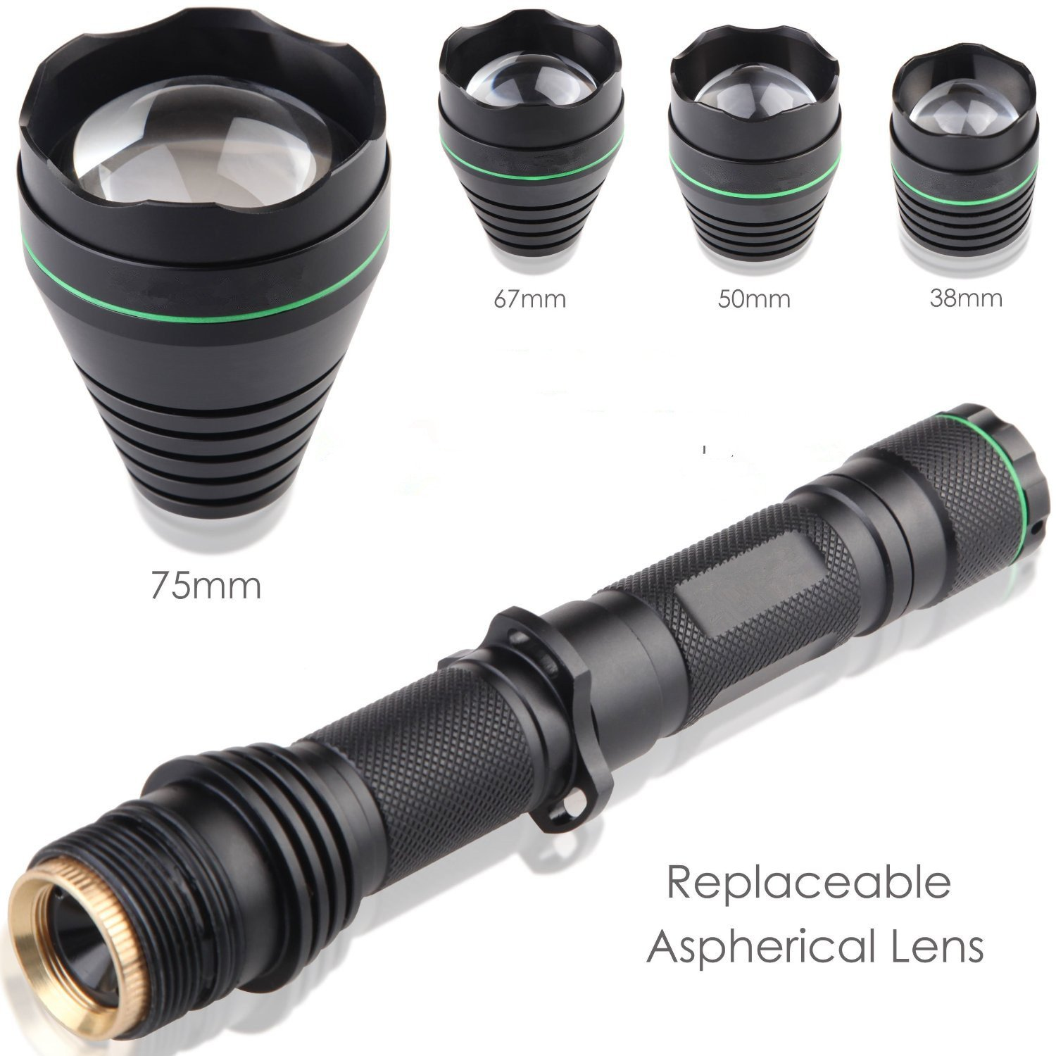 Uniquefire New Arrivel UF1508 Black IR 850NM T67 Infrared Light Night Vision Flashlight Adjustable Focus Zoomable Torch + 38MM / 50MM / 75MM Lens kit set for Night Huting (850NM kit set)