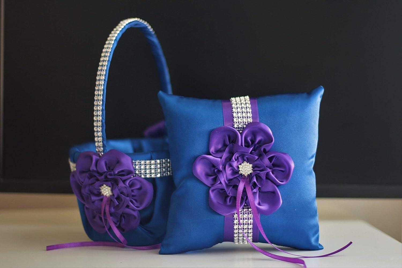 Plum Blue Bearer Plum Wedding Pillow Plum Bearer Plum Flower Girl Basket Blue Ring Bearer Pillow Plum Blue Wedding Basket Pillow Set