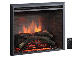 """PuraFlame 26"""" Western Electric Fireplace Insert with Remote Control, 750/1500W, Black"""