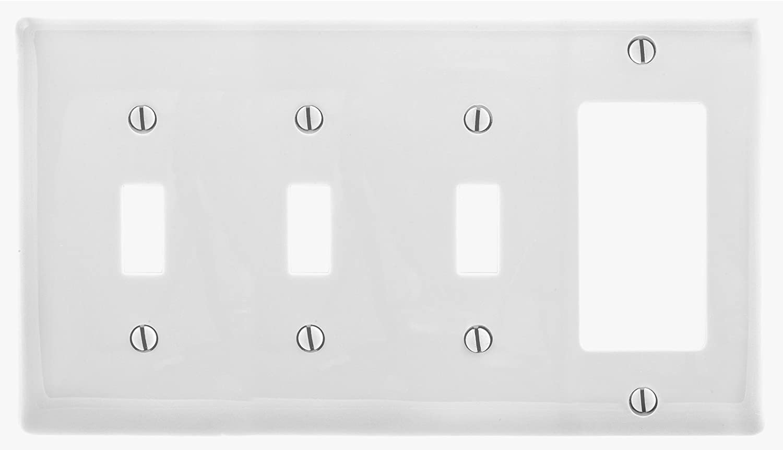 Bryant Electric NP326W Wallplate, Nylon, Standard Size, 4-Gang, 3 Toggle, 1 Decorator/GFCI, White