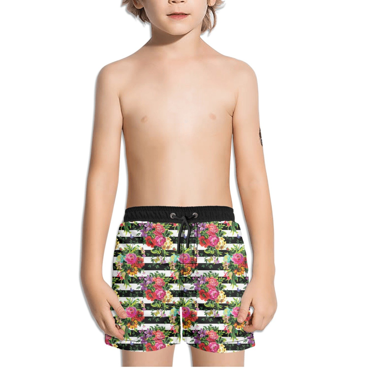 FullBo Vintage Spring Floral Stripes Little Boys Short Swim Trunks Quick Dry Beach Shorts