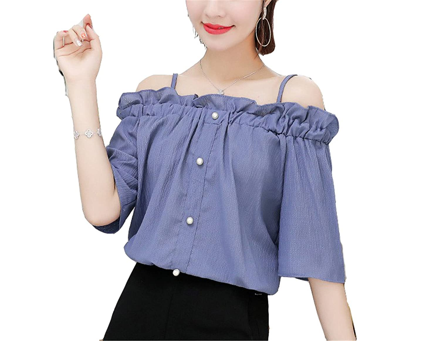 OUXIANGJU Summer New Fashion Women Blouses Off Shoulder Shirts Female Short Sleeve Sexy Strap Tops at Amazon Womens Clothing store: