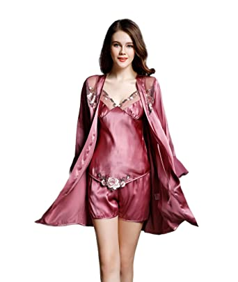 809941ffb595 Colorful Silk Women s Sleep Sets Pure Silk Chemises Lace Nightclothes Brick  Red S