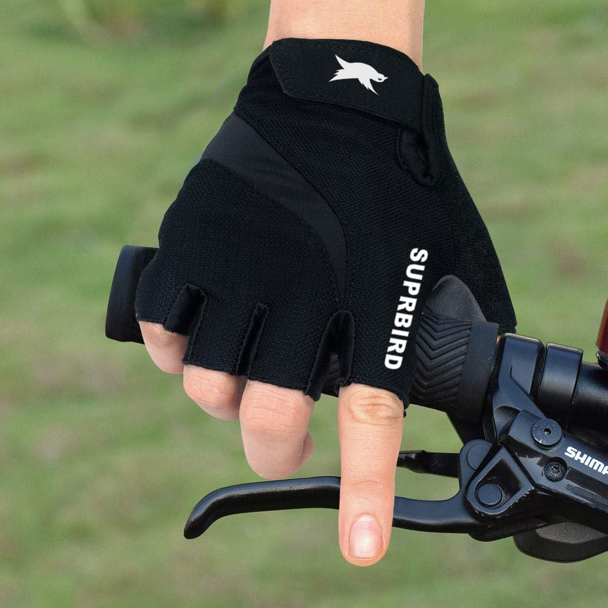 SUPRBIRD Fahrradhandschuhe Fingerlos Fitness Handschuhe Atmungsaktiv Rutschfestes Sto/ßd/ämpfende Radsporthandschuhe f/ür MTB Fitness Damen und Herren