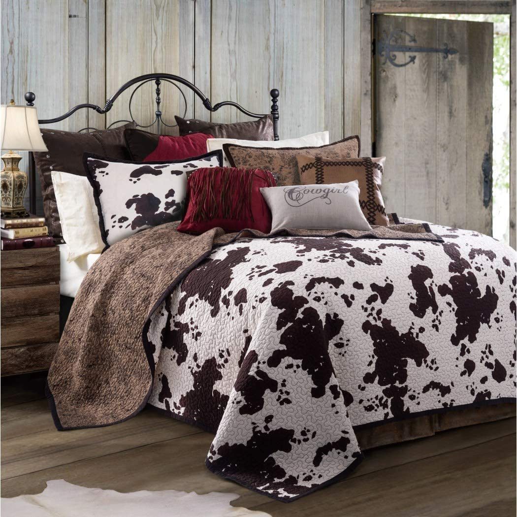 L&M 3 Piece Ivory White Brown Cowhide Quilt Full Queen Set, Dark Russet Chocolate Cow Print Bedding Calf Pattern Country Dairy Farm Animal Ranch Themed Western, Reversible Paisley Cotton