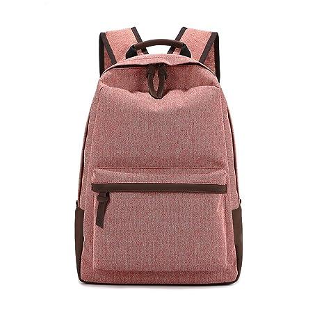 Umily Mochila Casual Escuela Mochilas de lona unisex Backpacks Canvas-Rojo claro