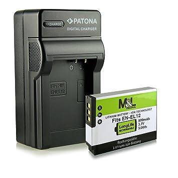 Cargador + Batería EN-EL12 para Nikon CoolPix AW100 P300 P330 P340 S31 S70 S610 S610c S620 S630 S640 S710 S800c S1000pj S1100pj S1200pj S6100 S6150 ...