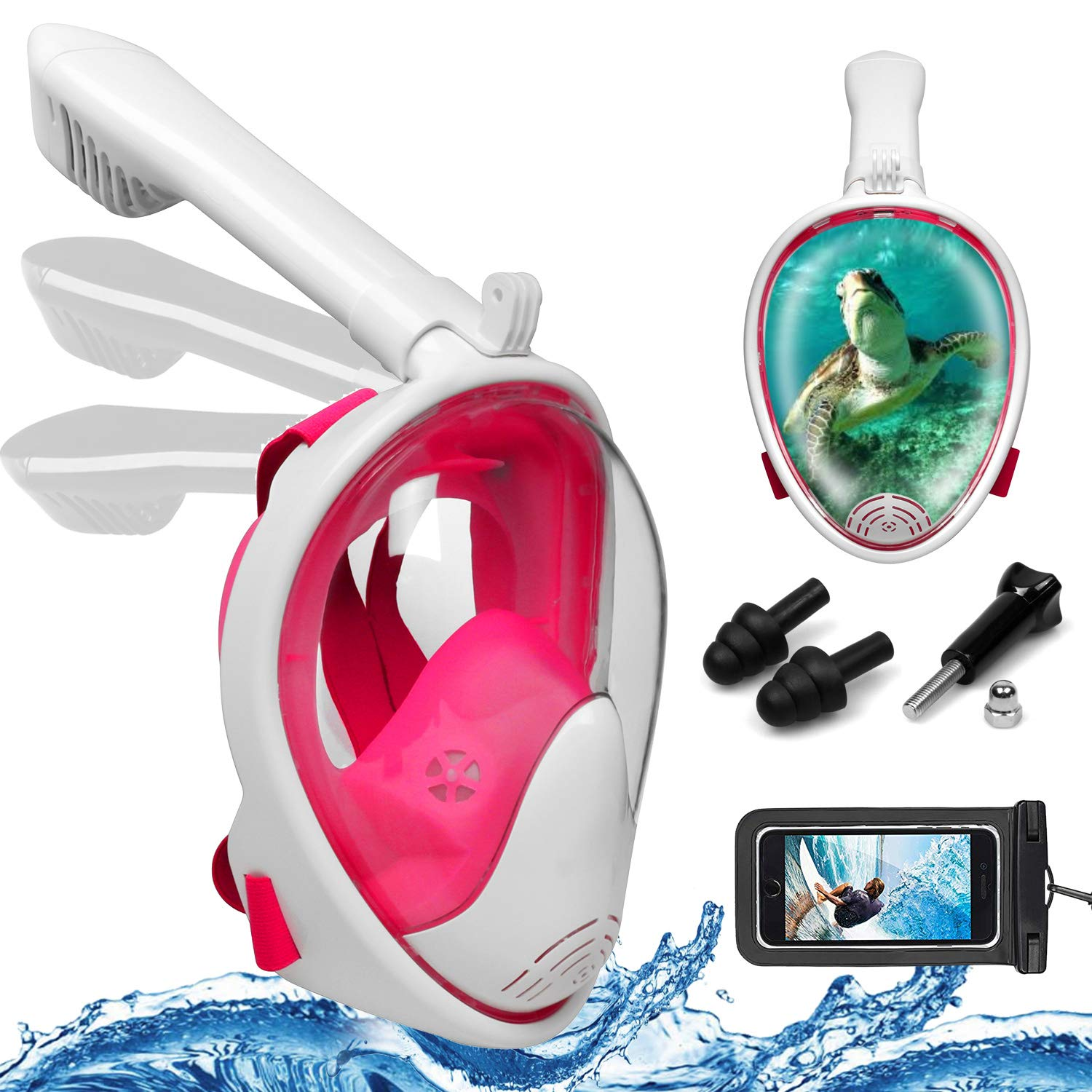 Foldable Full Face Snorkel Mask, 180° Panoramic View Scuba Diving Mask Perfect for Kids Swimming & Adult Diving (S/M, Rose Red)