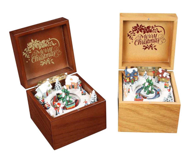 正規激安 パックの4 B00XU6UGBY Icyクリスタル装飾Animated木製音楽ボックス3.5