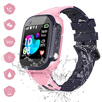 Reloj Inteligente Smartwatch para Niños - IP67 Impermeable Reloj Inteligente Niña, AGPS LBS Tracker, Reloj del Teléfono SOS Chat de Voz Reloj de ...