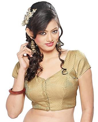 Amazon.com: Deluxe Gold Brocade Sari Blouse Saree Blouse Choli ...