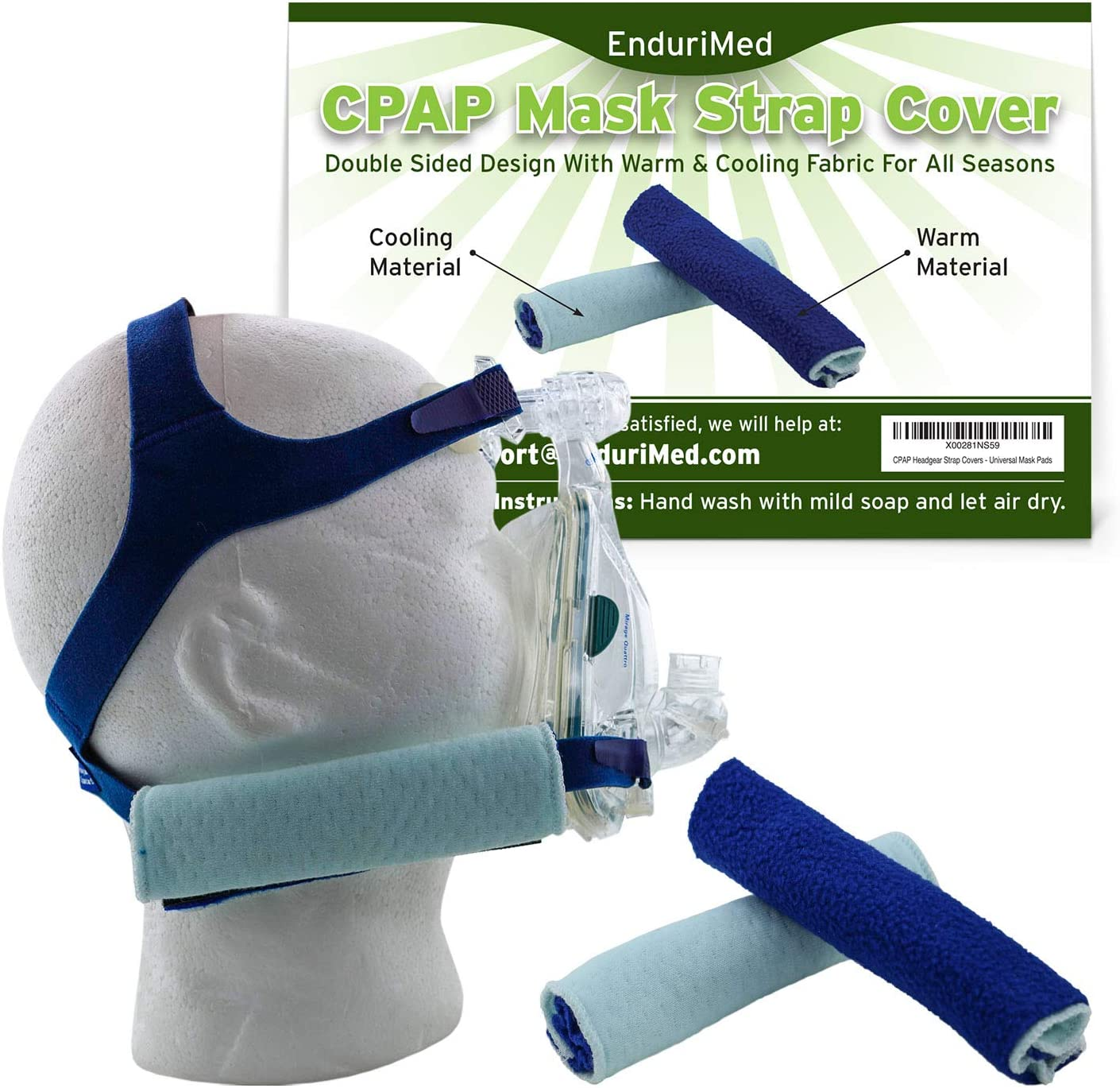 2 CPAP Strap Covers – Superior Comfort Pads to wrap CPAP Nasal mask Straps – No Skin Irritation, no Strap Marks – Softest, Breathable Fabrics, Double Stitching, Advanced Cooling CPAP Cushions