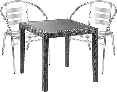 Mobiliario de jardín – 3 piezas – Mesa de jardín PLÁSTICO 79 x 79 h72 cm – + 2 sillas apilables – Aluminio – Bistro Set – Comedor – Silla apilable: Amazon.es: Jardín