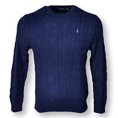 Polo Ralph Lauren Mens Cable Knit Cotton Sweater Navy Blue Xxl At