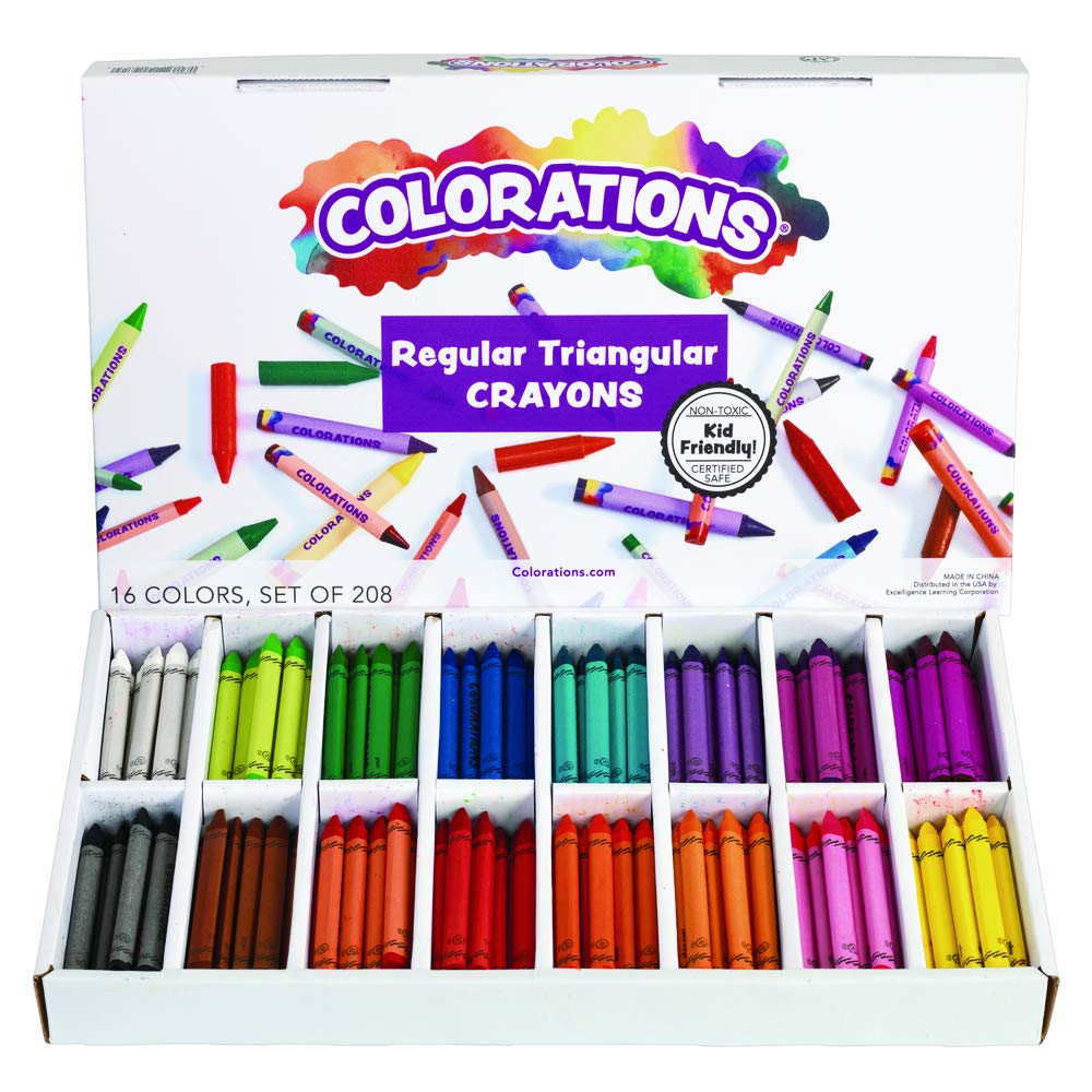 Pack of 208 Colorations CRSTC Regular Size Triangular Crayons
