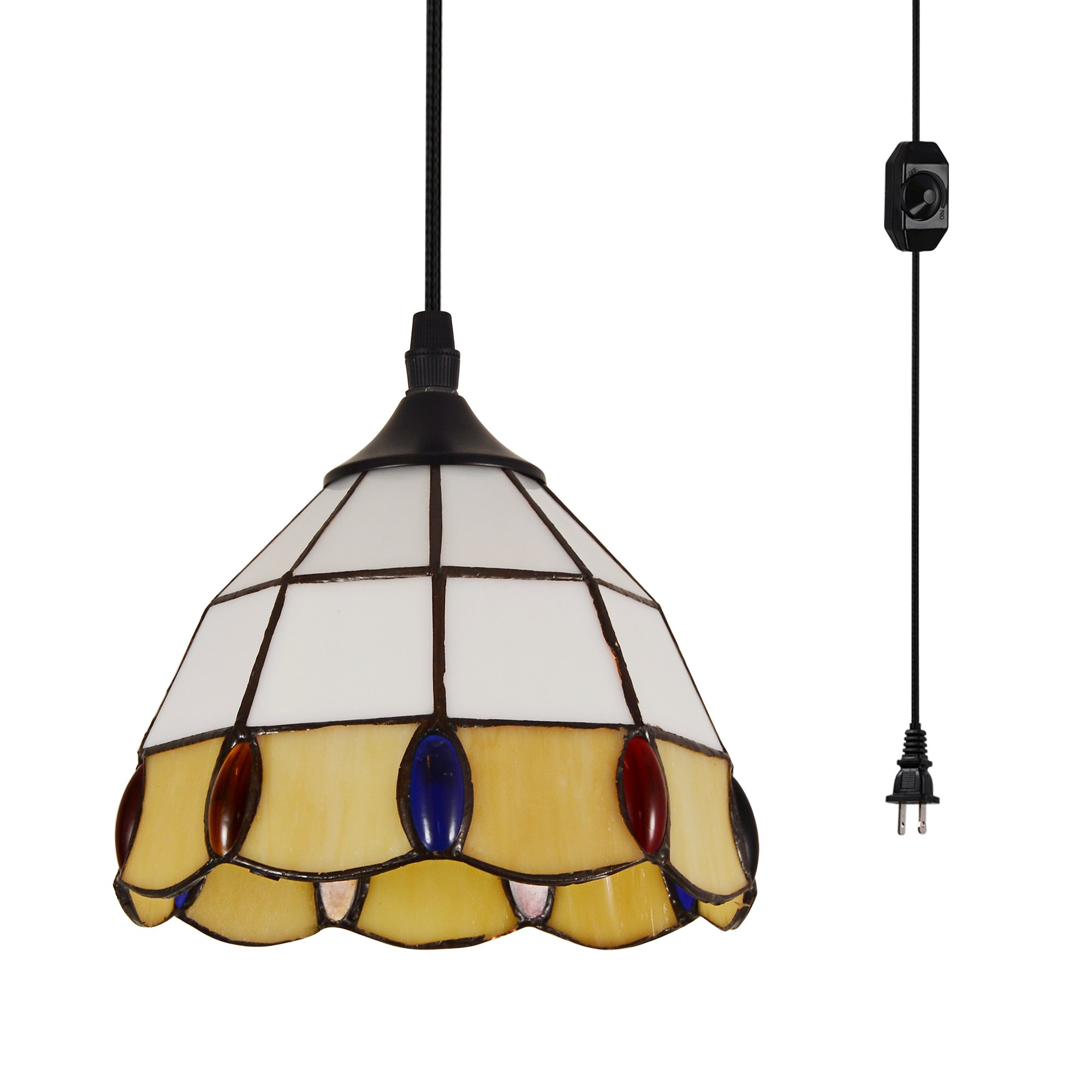 HMVPL Vintage Tiffany Acrylic Pendant Ceiling Light with 16.4 Ft Plug in Cord and On/Off Dimmer Switch, Round Multicolored Swag Hanging Lamp for Kitchen Island Dining Room or Living Room