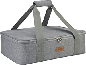 Insulated Expandable Double Casserole Carrier and Lasagna Holder for Picnic Potluck Beach Day Trip Camping Hiking - Hot and Cold Thermal Bag – Tote can hold 11 x 15 or 9 x 13 baking dish(1,Grey)
