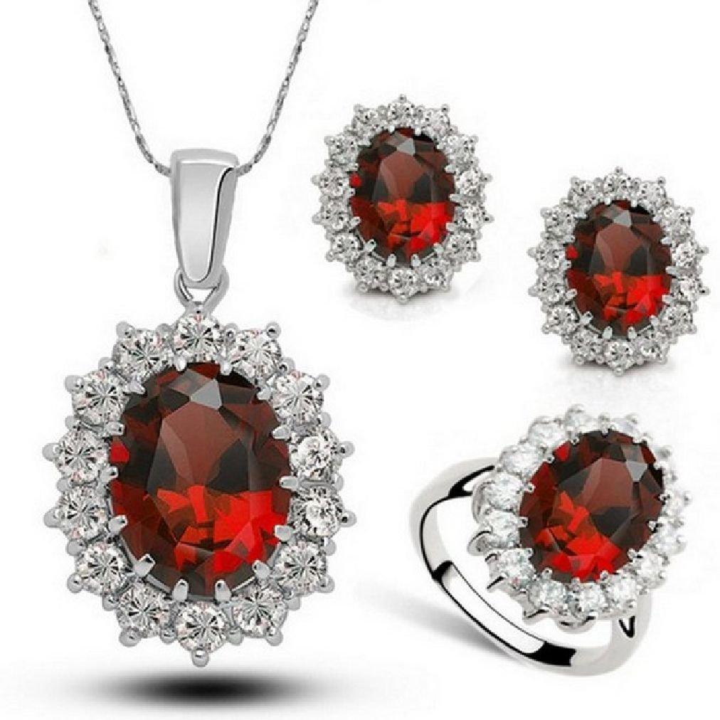 Fancy Austria Crystal Necklace Ring Earrings Jewelry Set Ruby Size 7