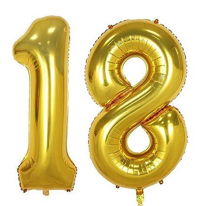 Amazon 40inch Gold Foil 18 Helium Jumbo Digital Number Balloons