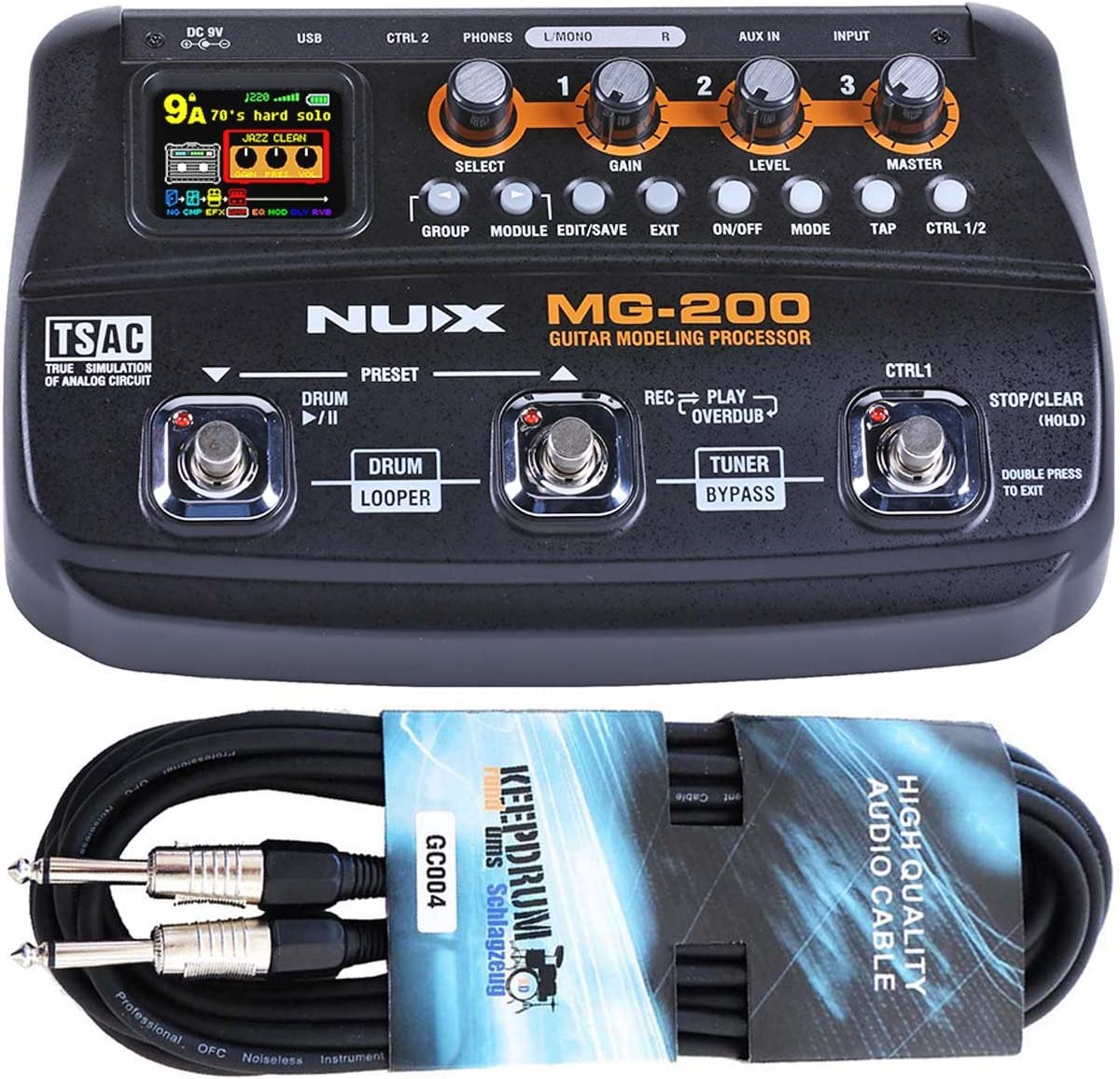 Nux MG de 200 Multi de efecto dispositivo con Looper y de Drum Machine Keepdrum Guitarra Cable 6 m