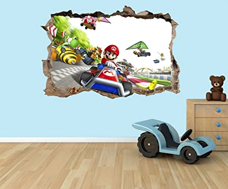PPS Super Mario Kart 3D effect smashed hole in wall vinyl sticker -  suitable for Kids Bedroom walls, doors and glass windows  (Medium 40 x 29  cm)