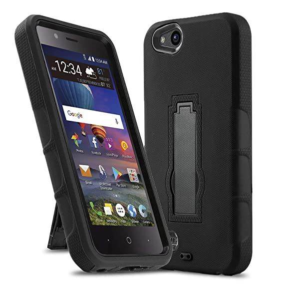Phone Case for [ZTE ZFIVE G LTE (Z557BL) / ZTE ZFIVE C LTE (Z558VL)],  [Impact Series][Black] Shockproof [Easy Grip] Cover with [Kickstand]  (Tracfone,