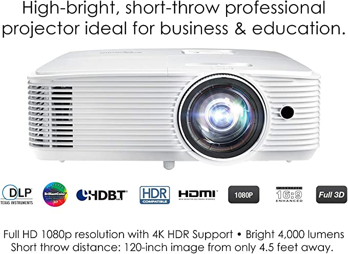 Amazon.com: Optoma EH412ST Proyector profesional DLP 1080P ...