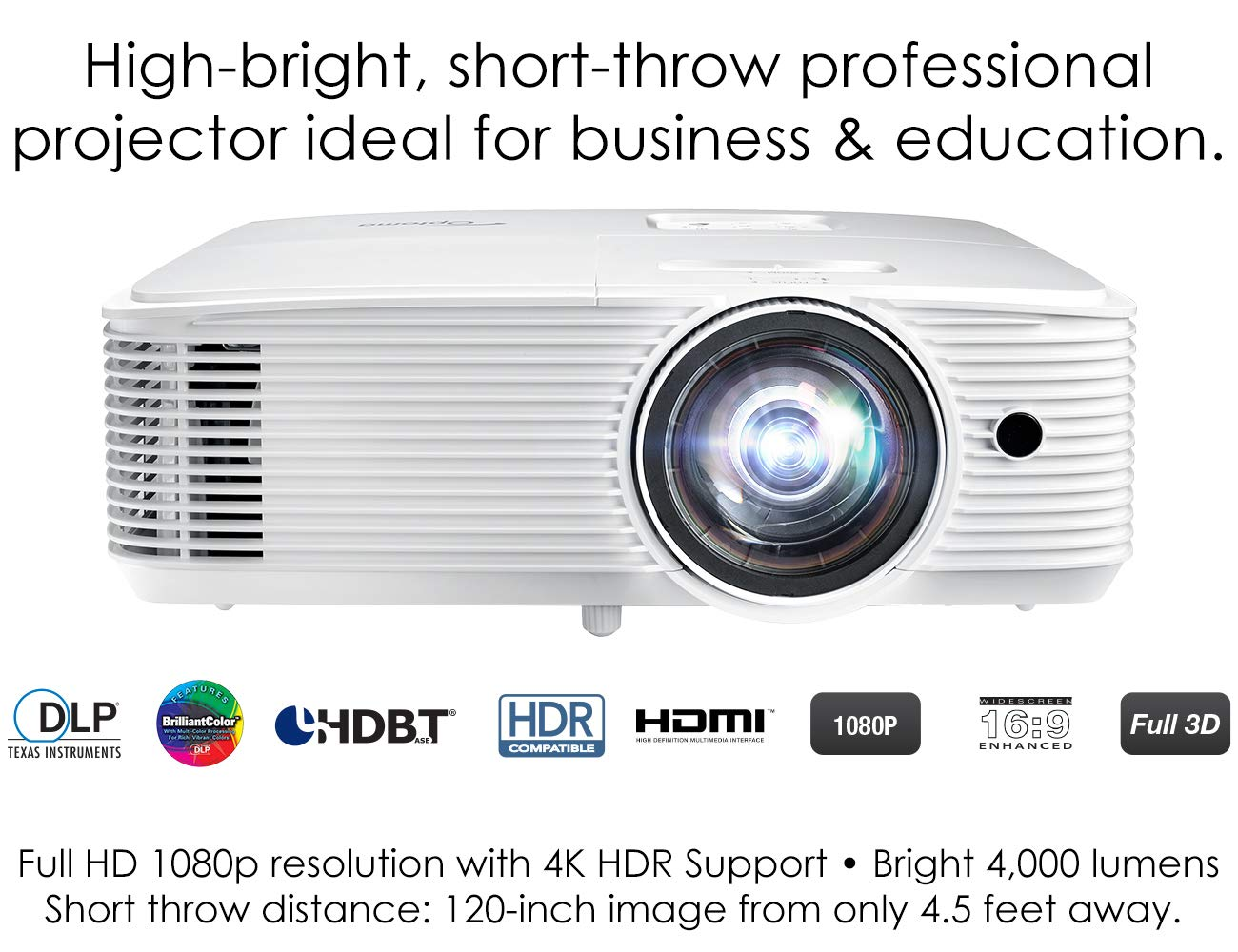 Optoma EH412ST Short Throw 1080P DLP Professional Projector | Super Bright 4000 Lumens | Business Presentations, Classrooms, or Meeting Rooms | 15,000 hour lamp life | Speaker Built In | Portable Size by Optoma (Image #3)