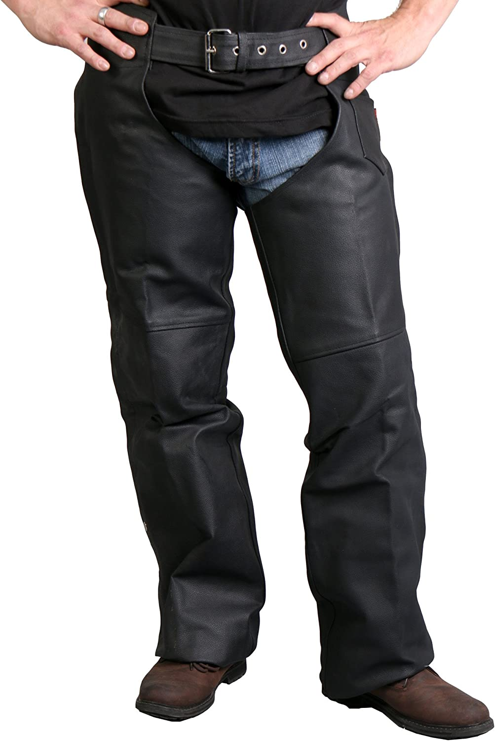 Black, XXXX-Large Hot Leathers Fully Lined Leather Chaps