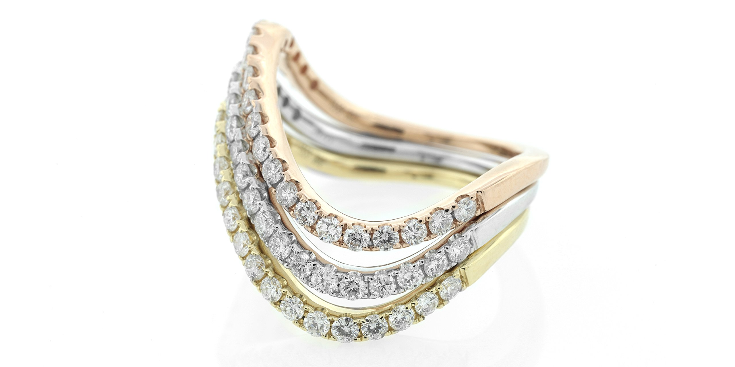 London Fine Jewelry Stackable Row Wave Ring in 14K Tri-Tone Gold