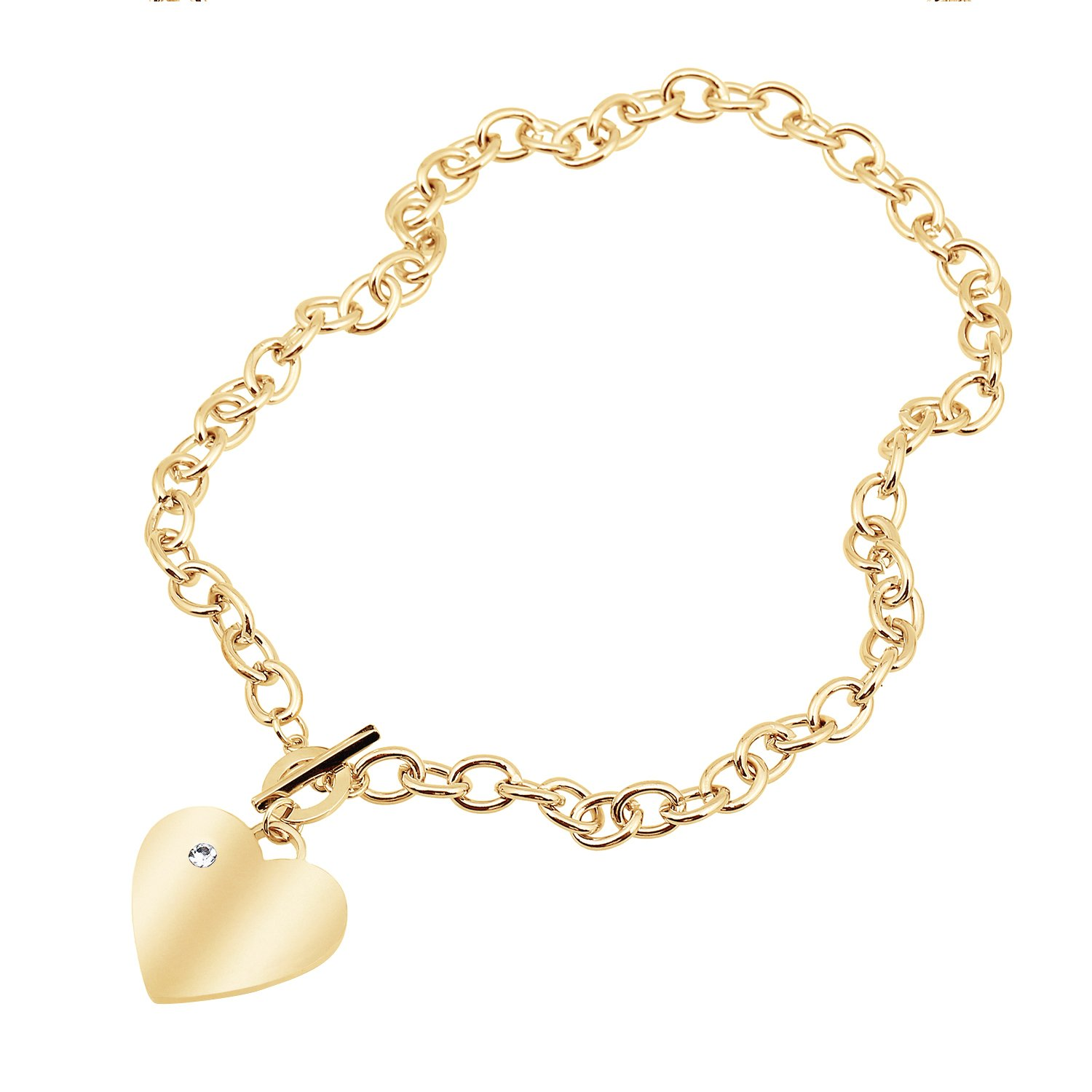 D EXCEED Heart Penant Necklace Heart Pendant Cable Chain Necklace with Toggle Clasp 20 inches