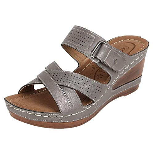 ed1aa0518ff4 Catwalk Women s Grey Wedge Sandals Fashion  Buy Online at Low Prices ...
