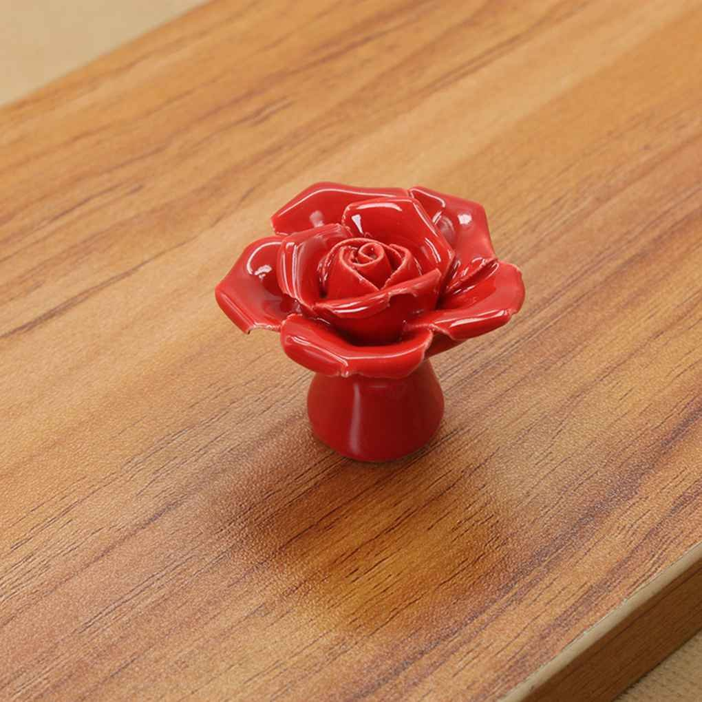 Rose Flower Shape Ceramics Colorful Cabinet Cupboard Round Handles Wardrobe Drawer Closet Door Pull Knobs Regard Regard Natral