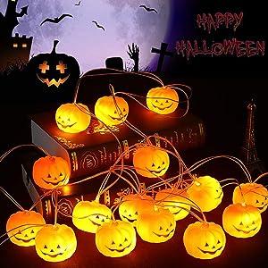 Halloween String Lights, 9.8 ft 20 LED Pumpkin Lights, Holiday Lights for Indoor Outdoor Decor, 2 Modes Steady or Flickering Lights