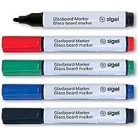 Sigel GL711 markery do tablic suchościeralnych, okrągła końcówka 2 – 3 mm, zestaw 5 markerów do tablic suchościeralnych…