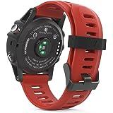 MoKo Garmin Fenix 3 Sport Watch Armband - Silikon Sportarmband Uhr Band Strap Ersatzarmband Uhrenarmband mit Werkzeug für Garmin Fenix 3 / Fenix 3 HR GPS Smart Watch, Rot
