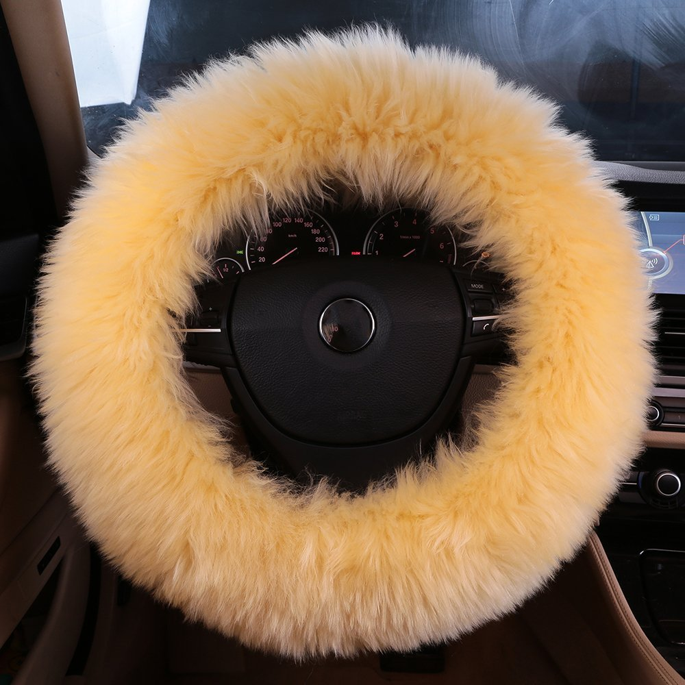 Natural Fur Long wool Fluffy sheepskin car steering wheel cover for Women and Men, Universal Steering Cover, Anti-Slip,Comforting and Luxurious, Soft Texture (Black) Henna OG LAND Import and Export Trading Co. Ltd