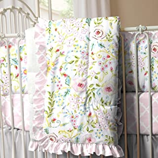 product image for Carousel Designs Pink Primrose Crib Comforter with Ruffle