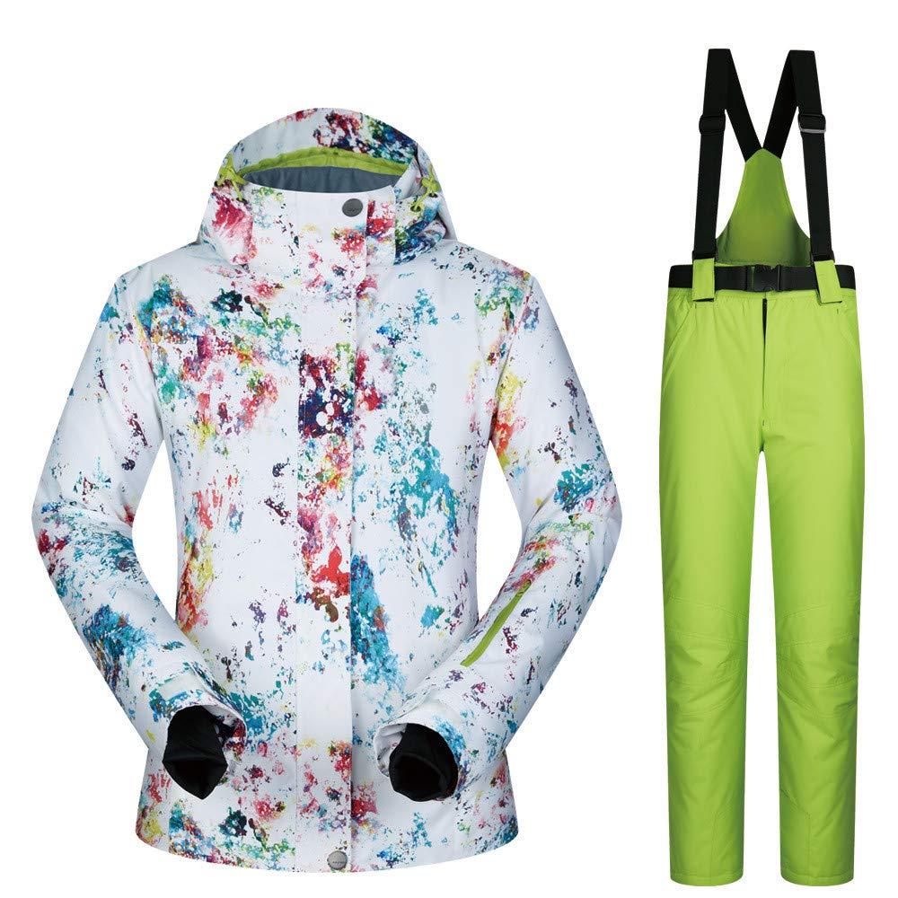 スキースーツ女性のスーツ冬屋外防水スキースーツスプラッシュインク (色 : 緑 pants, サイズ : S) 緑 pants Small