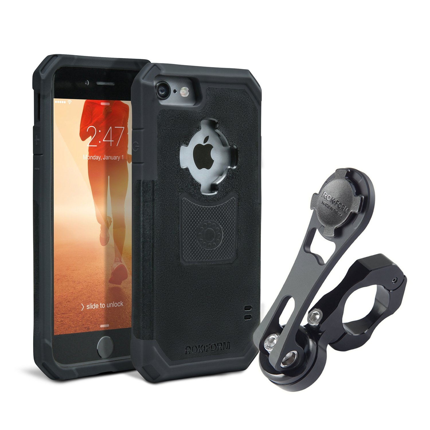 Rokform [iPhone 7 & 8] Pro Series Motorcycle Mount kit and Rugged Case, CNC Machined Aluminum, twist lock and magnetic mounting