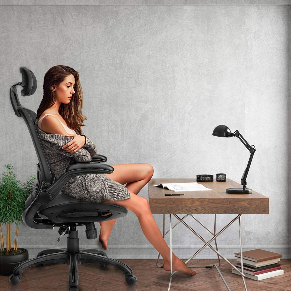 Computer Desk Office Chair, Ergonomic Executive Mesh Task Chair Lumbar Support for Office Chair with Flip-up Arms by BestOffice (Image #3)