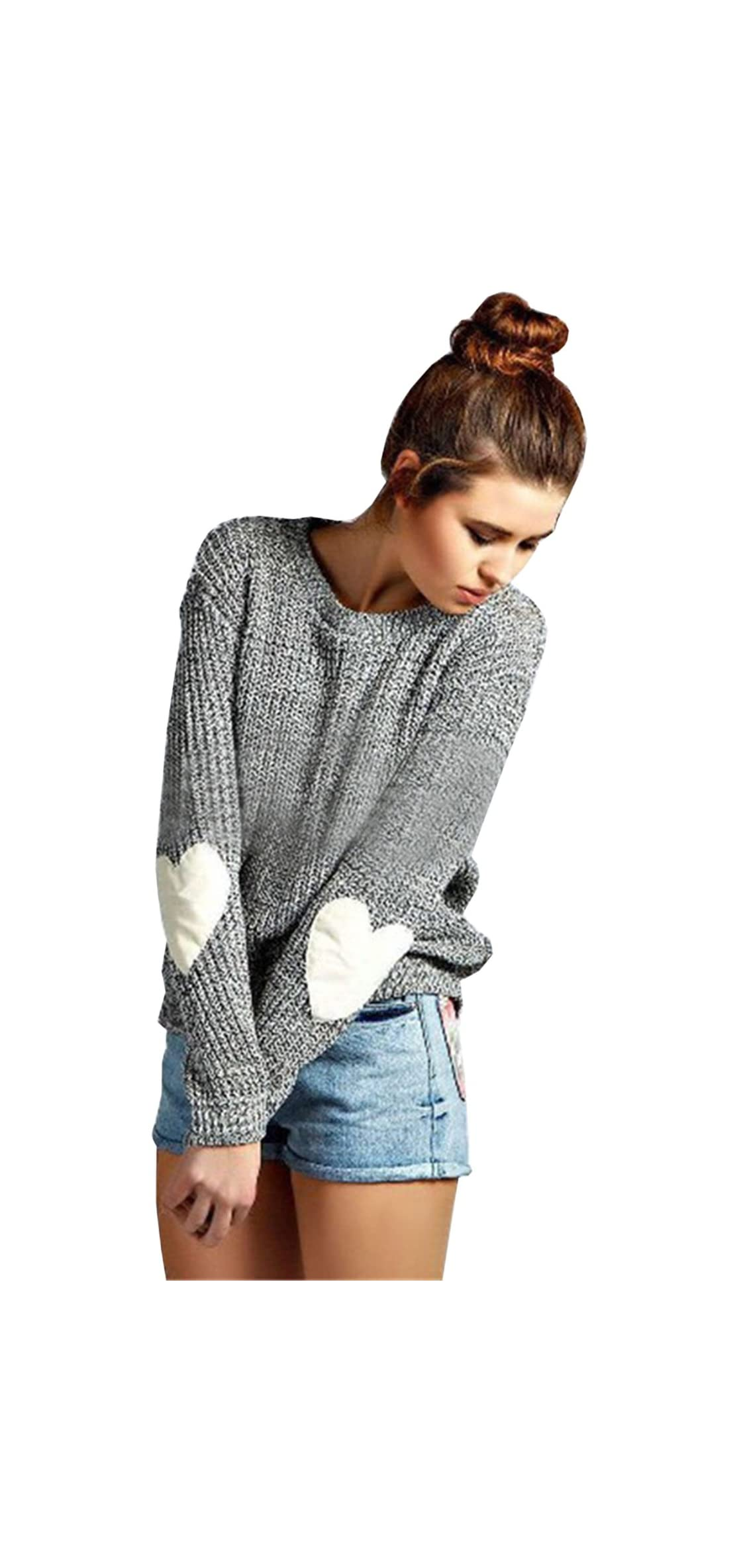 Women's Heart Patchwork Elbow Crewneck Marled Knitted