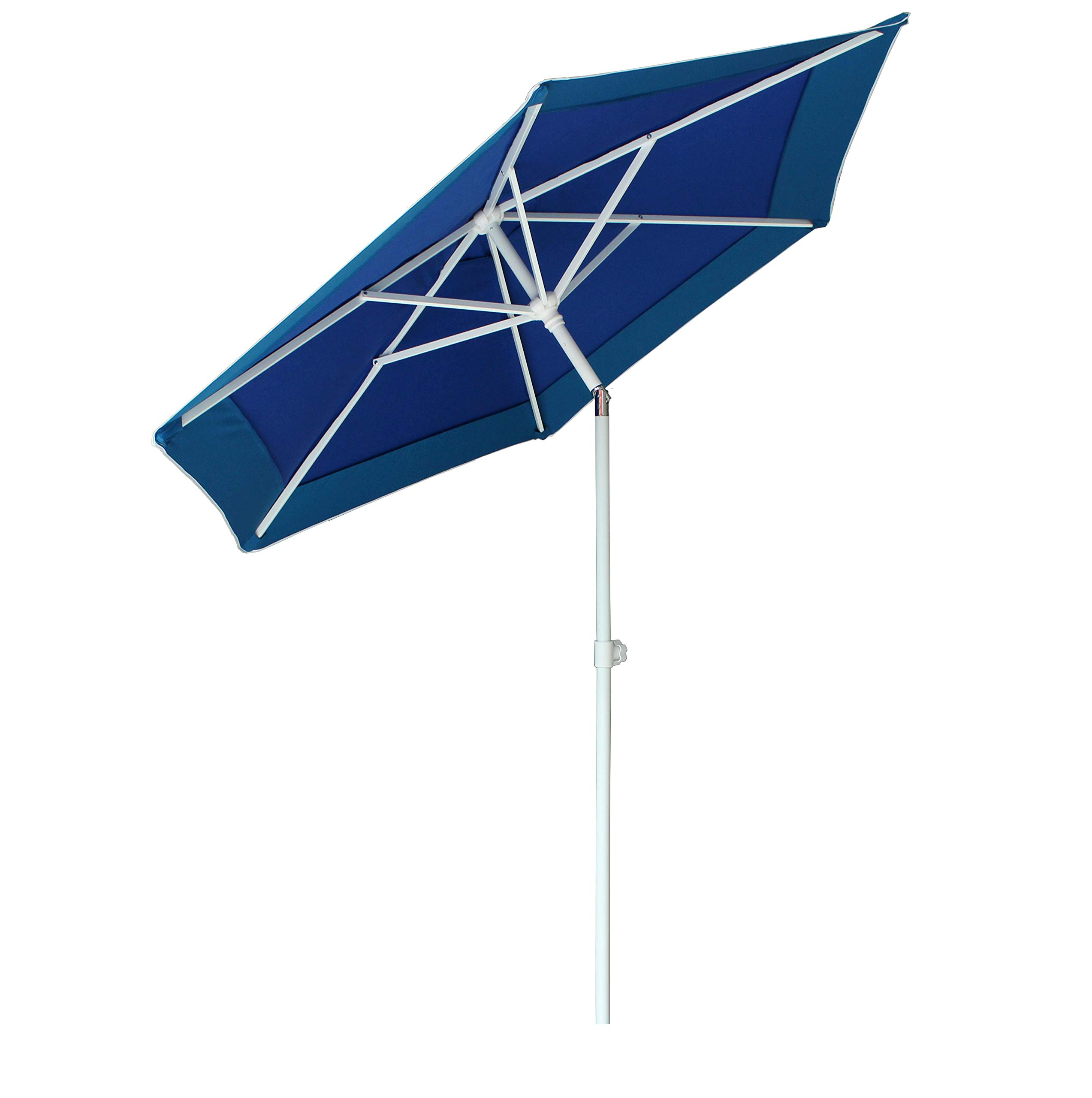 AMMSUN 6 Panels 7ft Polyester Fabric Heavy Duty Air-Vent UV Protection Patio Umbrella Beach Umbrella with Zinc Tilt (Dark Blue, 7ft) -  - shades-parasols, patio-furniture, patio - 719jp7YxsJL -