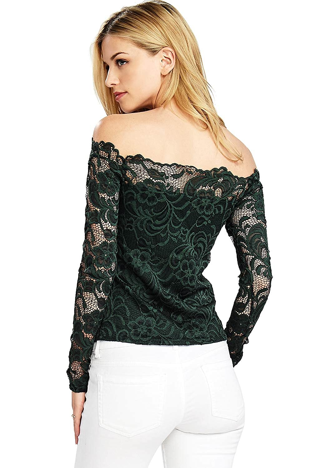 47d9f1774e38c Ambiance Women s Crop Lace Off-Shoulder Long Sleeve Top at Amazon Women s  Clothing store