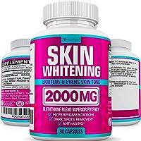 Glutathione Skin Whitening Pills - Vegan Skin Bleaching Pills for Dark Spots, Acne & Scar Removal - Made in Usa…