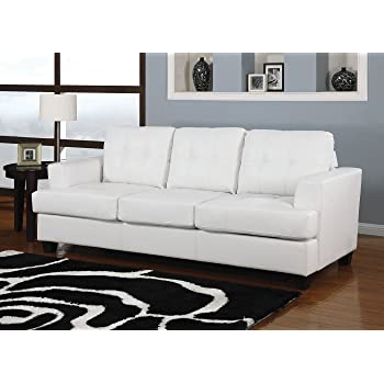 Charming Acme Platinum Sofa W/Queen Sleeper, White Bonded Leather White Bonded  Leather/Contemporary/Casual