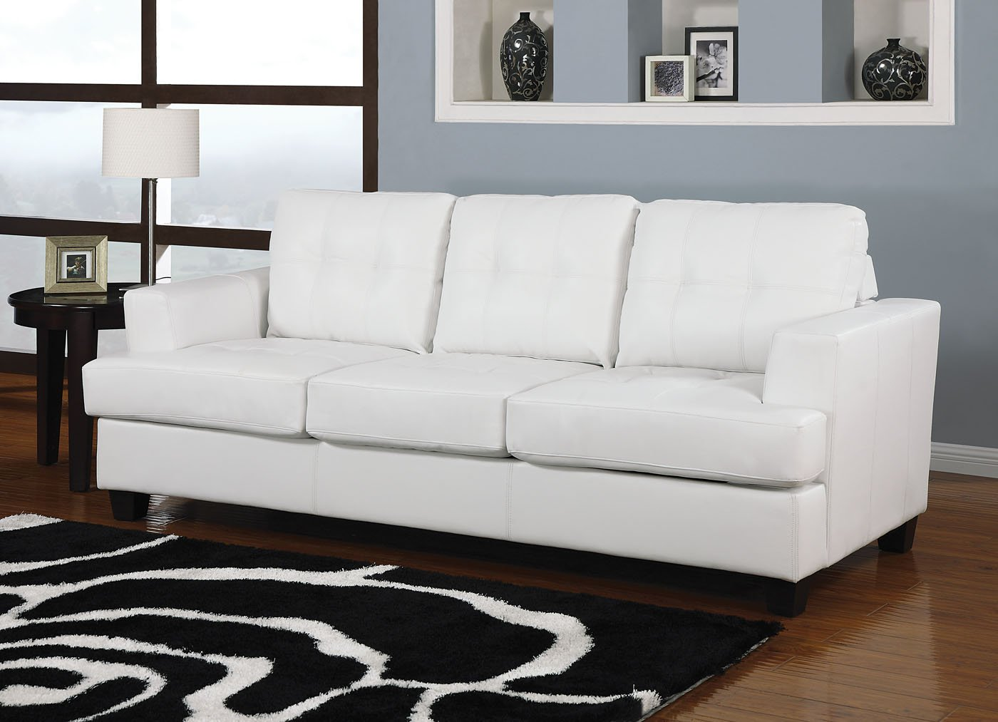 Amazon.com: Simple Relax Platinum White Bonded Leather Sofa ...