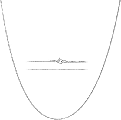KISPER 24k White Gold Over Stainless Steel 1.2mm Box Chain Necklace 14-30 inches